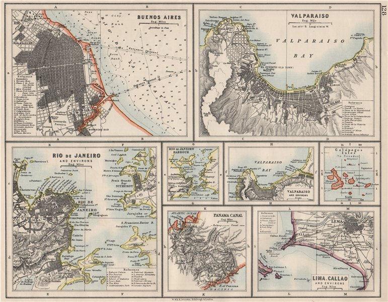 S AMERICA CITIES. Buenos Aires Rio de Janeiro Valparaiso Lima. JOHNSTON 1900 map