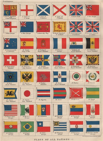 Associate Product NATIONAL FLAGS. Ensigns, Royal & Imperial Standards.  JOHNSTON 1903 old print