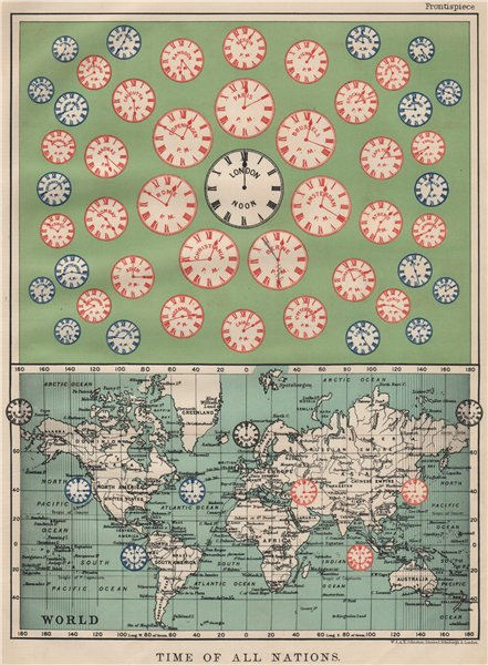 Associate Product TIME OF ALL NATIONS. predates UTC/standard hourly time zones.  JOHNSTON 1903 map