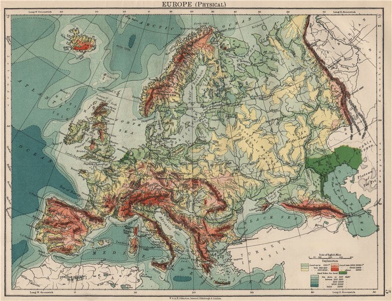 Associate Product EUROPE PHYSICAL. Relief Ocean depths Key mountains Plains. JOHNSTON 1903 map
