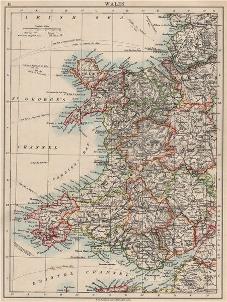 Associate Product WALES. Showing counties. Telegraph cables.  JOHNSTON 1903 old antique map