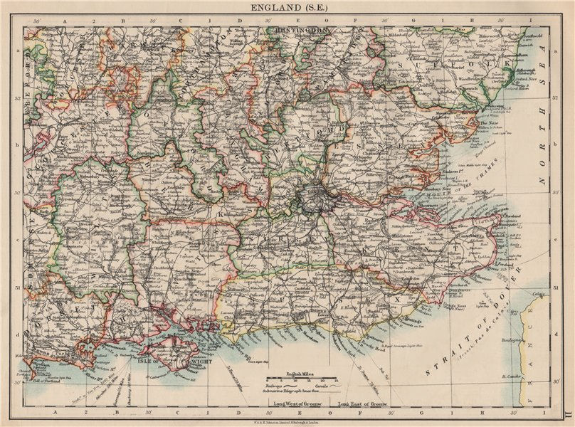 Associate Product SOUTH EAST ENGLAND. Home counties. Thames valley & estuary.  JOHNSTON 1903 map