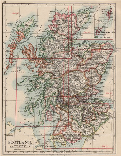 Associate Product SCOTLAND. Counties. Undersea telegraph cables. JOHNSTON 1903 old antique map