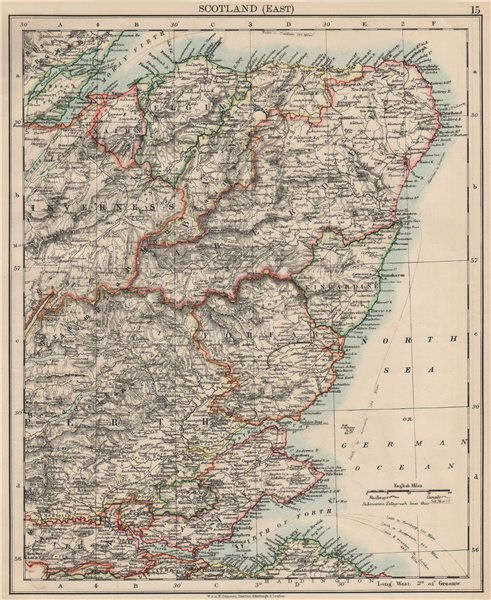 Associate Product SCOTLAND EAST. Grampian Tayside Fife Firth of Forth Aberdeen.JOHNSTON 1903 map