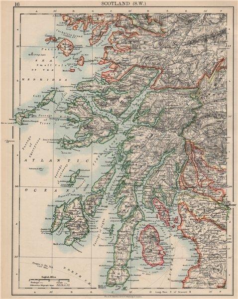 Associate Product ARGYLLSHIRE. South West Scotland. Bute Arran Dumbarton.  JOHNSTON 1903 old map