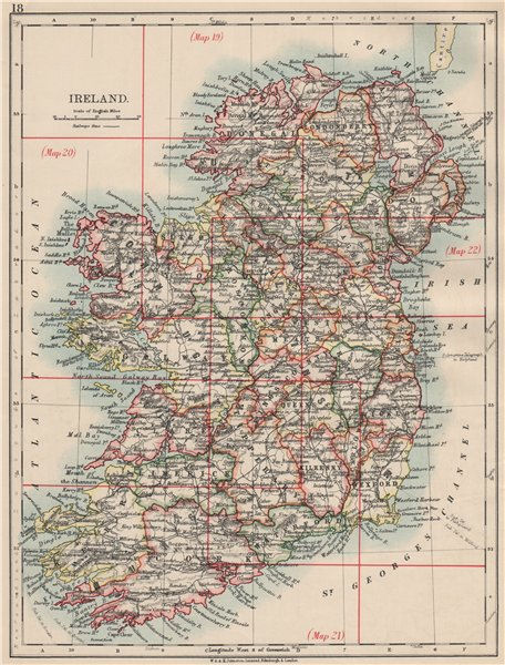 Associate Product IRELAND. Showing counties. Undersea telegraph cables.  JOHNSTON 1903 old map