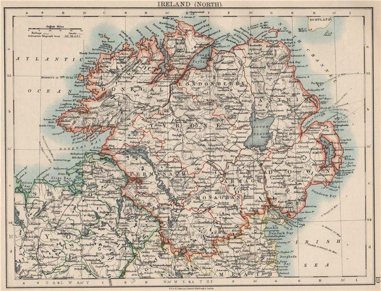 Associate Product ULSTER. Antrim Down Armagh Cavan Tyrone &c. Northern Ireland.  JOHNSTON 1903 map