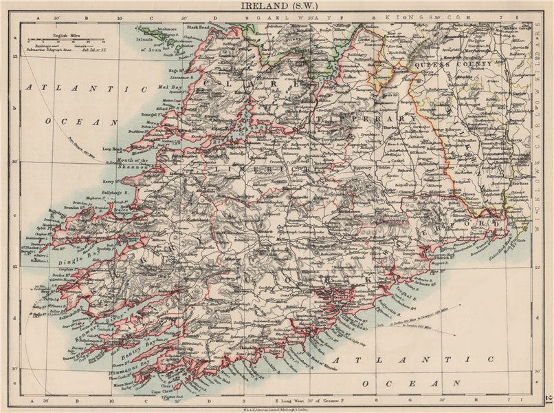 Associate Product MUNSTER.  Clare Cork Kerry Limerick Waterford &c.SW Ireland. JOHNSTON 1903 map