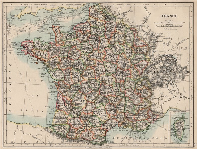 FRANCE. German Alsace & Lorraine. Undersea telegraph cables. JOHNSTON 1903 map