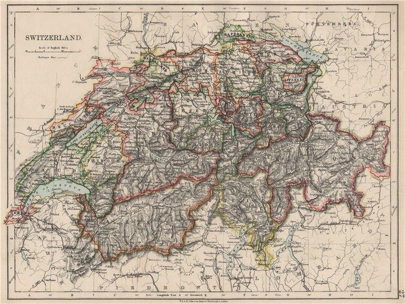Associate Product SWITZERLAND. Shows cantons & railways. Alps. Italian lakes. JOHNSTON 1903 map