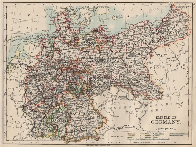 Associate Product EMPIRE OF GERMANY. States. Prussia Bavaria Alsace Lorraine.  JOHNSTON 1903 map