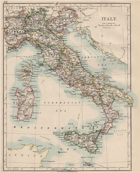 Associate Product ITALY. Showing states/territorial divisions. JOHNSTON 1903 old antique map