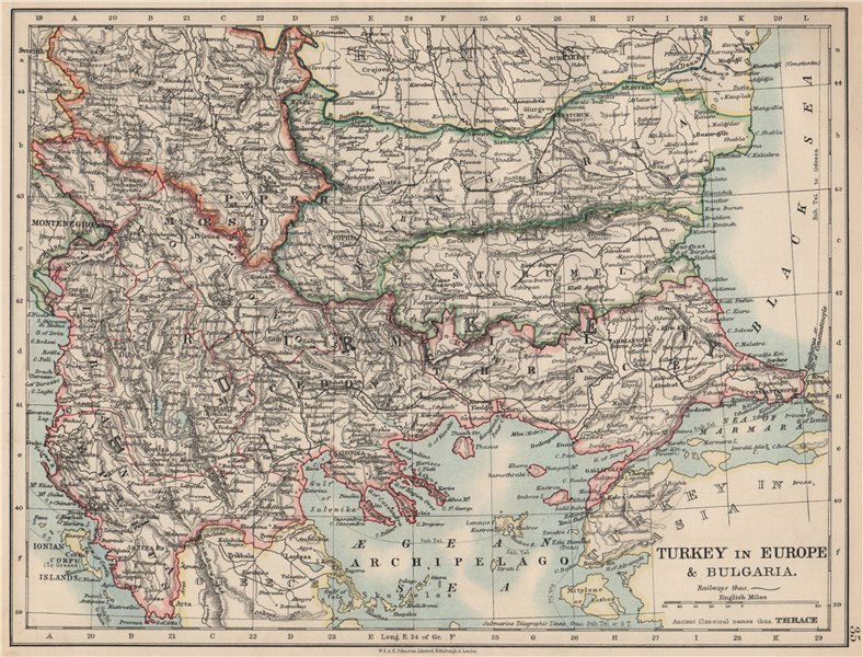 Associate Product TURKEY IN EUROPE & BULGARIA. Rumili East Rumelia Balkans. JOHNSTON 1903 map