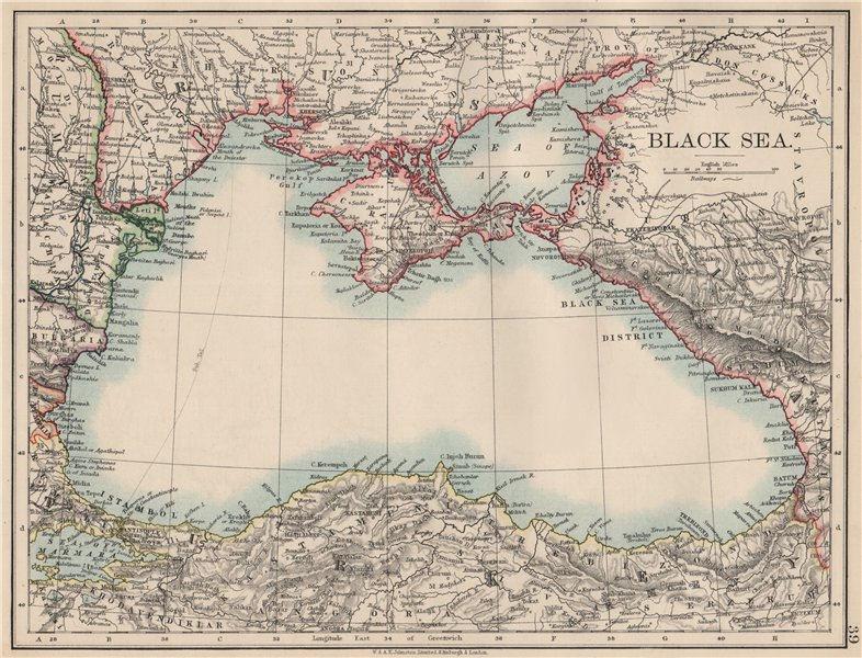 Associate Product BLACK SEA. Russia Turkey Crimea Romania Bulgaria Kutais. JOHNSTON 1903 old map
