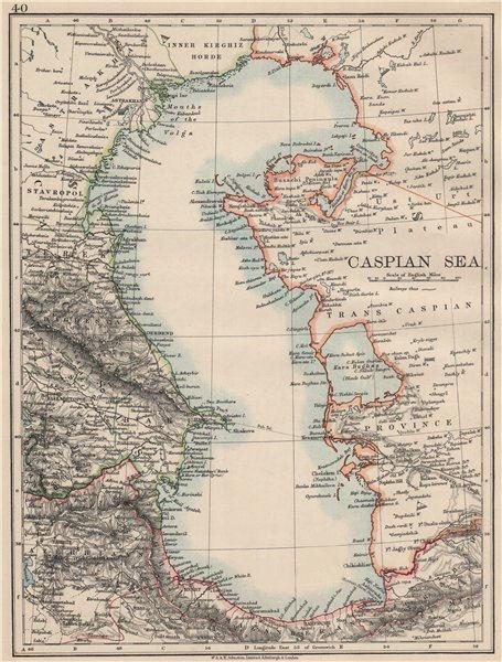 "Associate Product CASPIAN SEA. Baku Persia Astrakan. ""Inner Kirghiz Horde"".  JOHNSTON 1903 map"