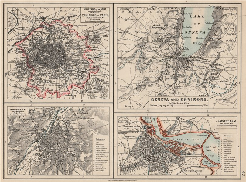 Associate Product EUROPEAN CITIES. Environs of Paris Brussels Amsterdam Geneva.JOHNSTON 1903 map