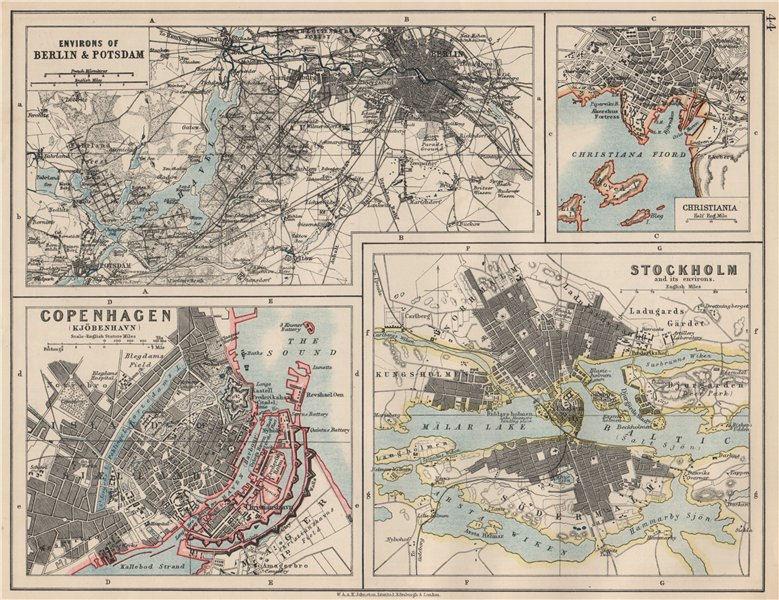 Associate Product EUROPEAN CITIES. Berlin Copenhagen Stockholm Christiania/Oslo. JOHNSTON 1903 map