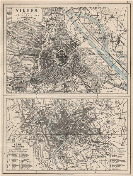 Associate Product VIENNA & ROME. City plans. Wien. Roma. Austria. Italy. JOHNSTON 1903 old map