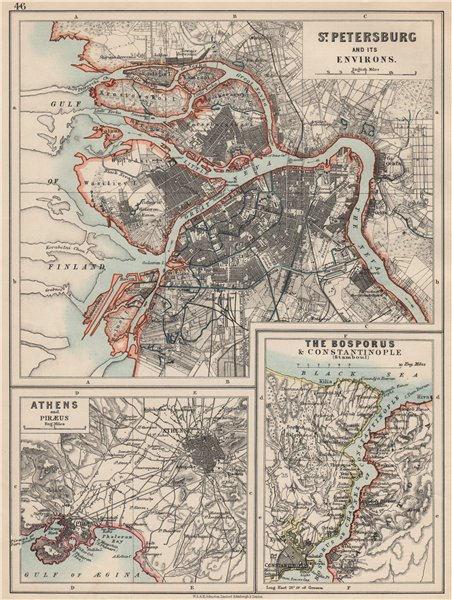 Associate Product EUROPE. St Petersburg Athens Piraeus Constantinpole Bosphorus. JOHNSTON 1903 map