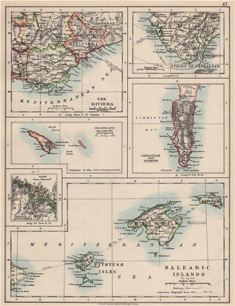 Associate Product EUROPE.Balearic islands.Heligoland Gibraltar Andorra Riviera.JOHNSTON 1903 map