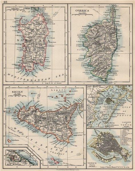 Associate Product MEDITERRANEAN ISLANDS. Sardinia Corsica Venice Sicily Venezia. JOHNSTON 1903 map