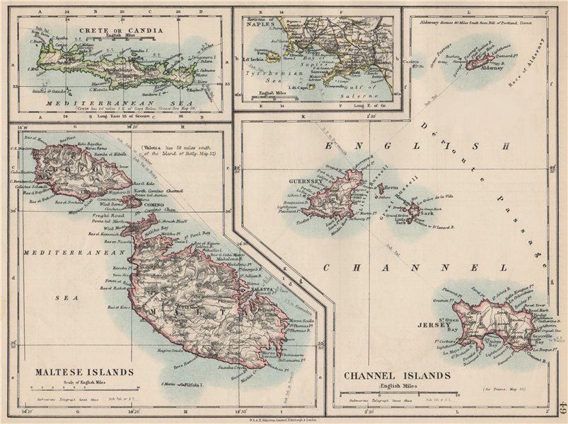 Associate Product EUROPEAN ISLANDS.Malta Gozo Crete Capri Jersey Guernsey Sark.  JOHNSTON 1903 map