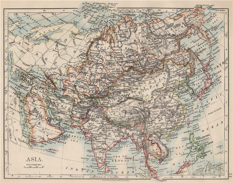 Associate Product ASIA POLITICAL. Persia Siam Hejaz China Japan Corea Turkestan. JOHNSTON 1903 map
