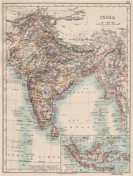 Associate Product BRITISH INDIA. Showing states. Burma Nepal Bhutan Ceylon.  JOHNSTON 1903 map