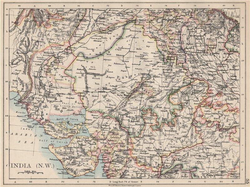 Associate Product BRITISH INDIA NW. Rajputana (Rajasthan) Sindh Gujarat Malwa.  JOHNSTON 1903 map