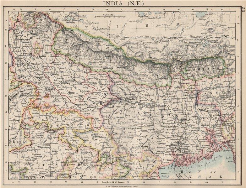 Associate Product BRITISH INDIA NE. Bengal Nepal Bhutan Calcutta Bangladesh. JOHNSTON 1903 map