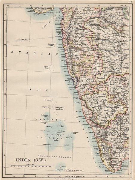 Associate Product BRITISH INDIA SW.Bombay Mysore Malabar Coast Lakkadives.  JOHNSTON 1903 map