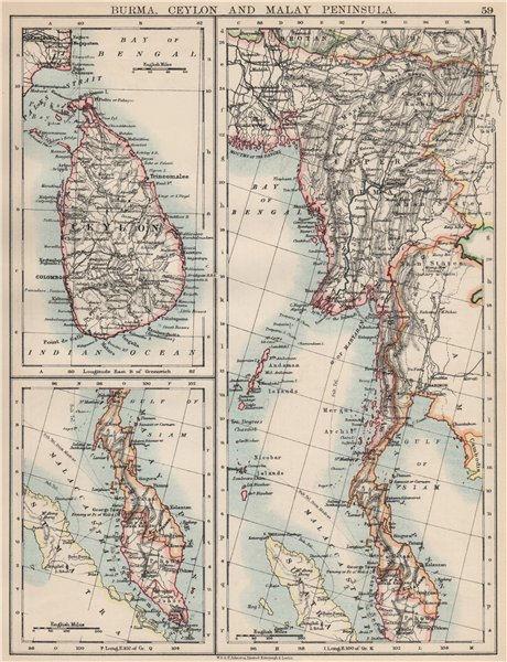 Associate Product BURMA CEYLON SIAM MALAY PENINSULA. Assam Singapore Thailand 1903 old map