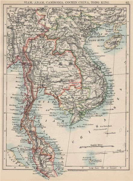 Associate Product INDOCHINA.Siam with British & French spheres. Burma Cambodia Anam  1903 map