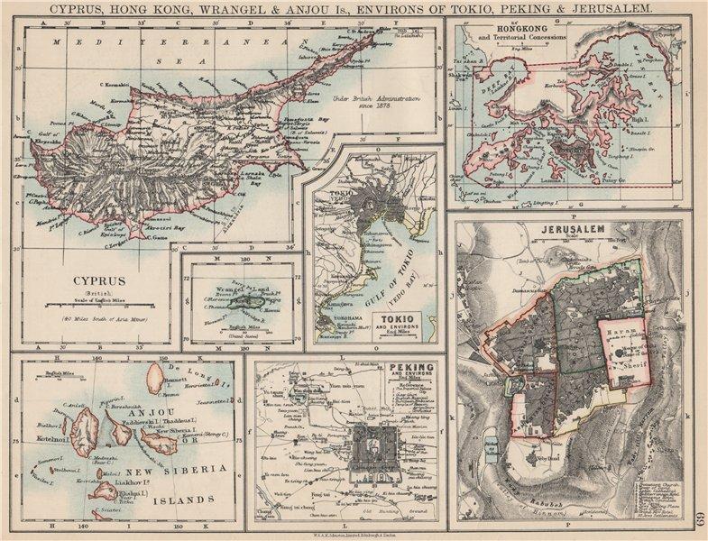 Associate Product CYPRUS HONG KONG TOKYO PEKING JERUSALEM. City plans. Anzhu islands  1903 map
