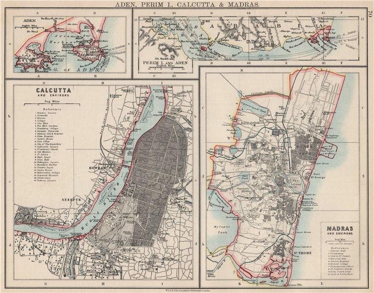 Associate Product BRITISH INDIA CITIES.Calcutta & Madras plans. Also Aden/Perim.JOHNSTON 1903 map