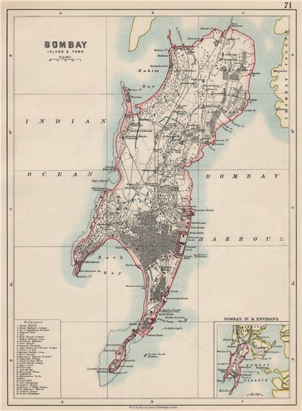 Associate Product BOMBAY ISLAND. City connected by Zion causeway. Mumbai. JOHNSTON 1903 old map