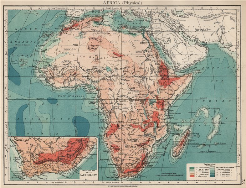 Associate Product AFRICA PHYSICAL. Relief ocean depths rivers. JOHNSTON 1903 old antique map
