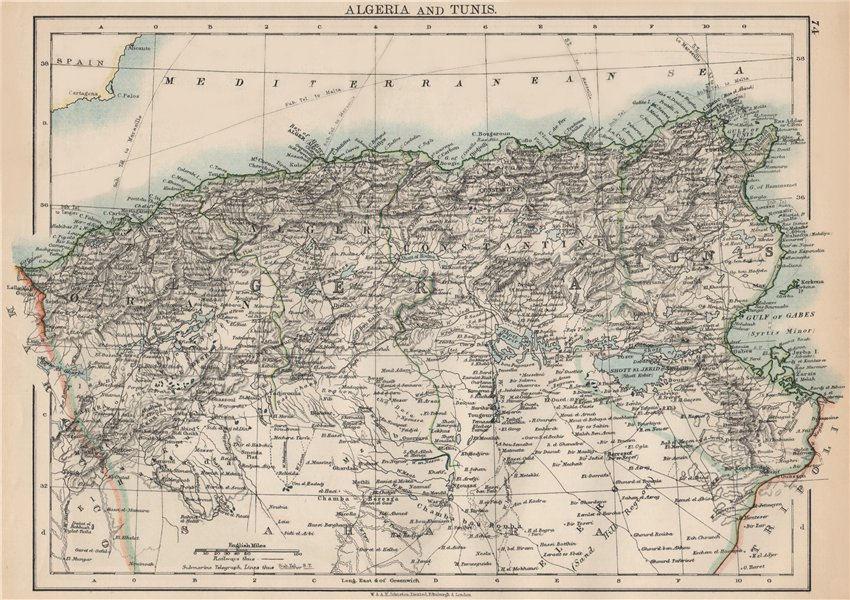 Associate Product ALGERIA & TUNIS. Maghreb Tunisia. Provinces. Telegraph cables. JOHNSTON 1903 map
