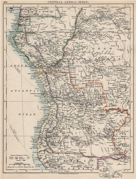 Associate Product COLONIAL CENTRAL AFRICA. French Congo Free State Portuguese West Af.  1903 map