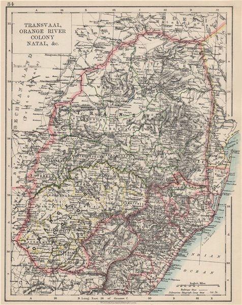Associate Product COLONIAL SOUTH AFRICA. Orange Free State Natal Basutoland SA Republic 1903 map