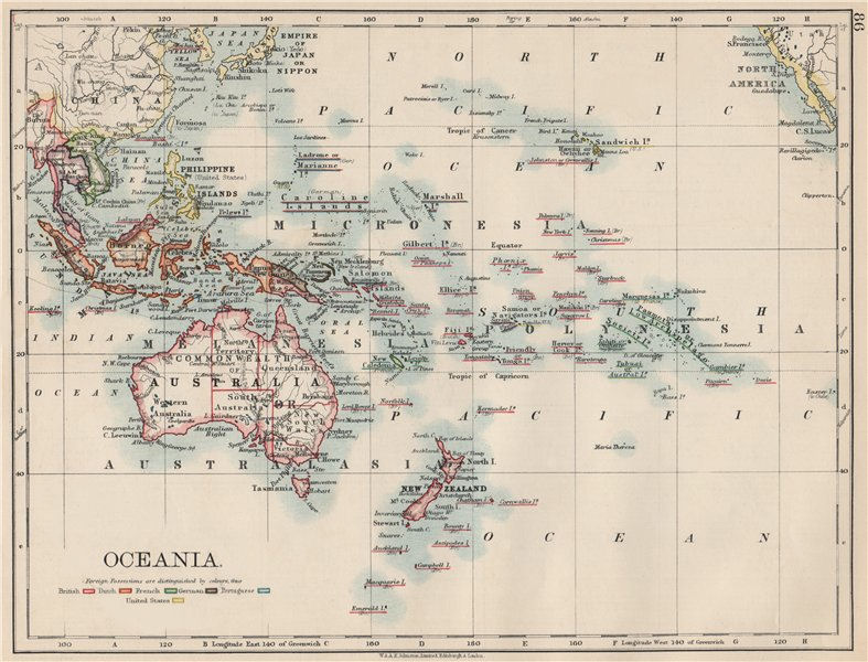 Associate Product COLONIAL OCEANIA PACIFIC.British Dutch Spanish French German Port. 1903 map