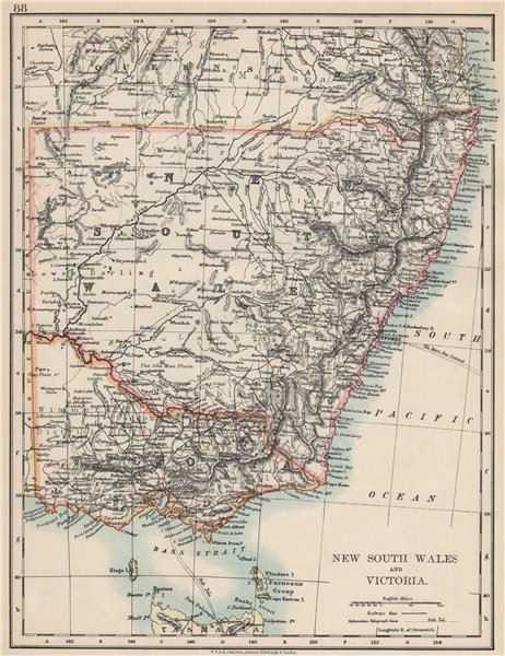 Associate Product NEW SOUTH WALES & VICTORIA. Shows railways telegraph cables. Australia 1903 map