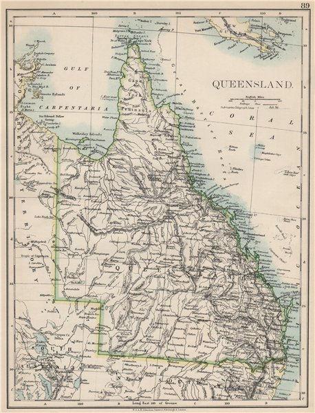 Associate Product QUEENSLAND. State map Brisbane Gold Coast Railways. Australia. JOHNSTON 1903