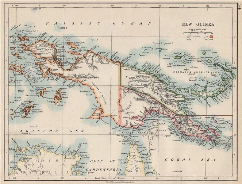 Associate Product COLONIAL NEW GUINEA. Kaiser Wilhelm Land. British & Dutch New Guinea  1903 map