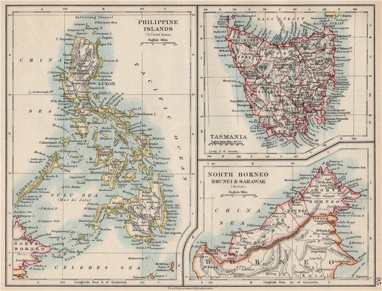 Associate Product EAST ASIA. Philippines Tasmania North Borneo Brunei Sarawak. JOHNSTON 1903 map