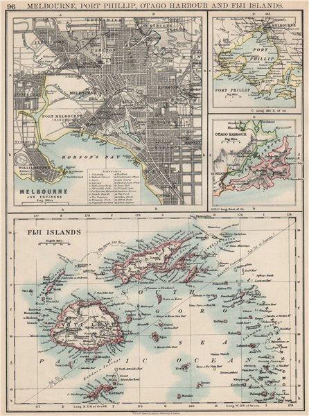 Associate Product AUSTRALASIA. Melbourne plan. Fiji Viti/Vanua Levu. Otago Port Phillip 1903 map