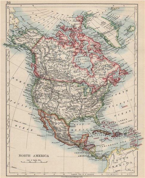 "Associate Product NORTH AMERICA POLITICAL. Greenland ""Danish America"" USA Canada Mexico 1903 map"