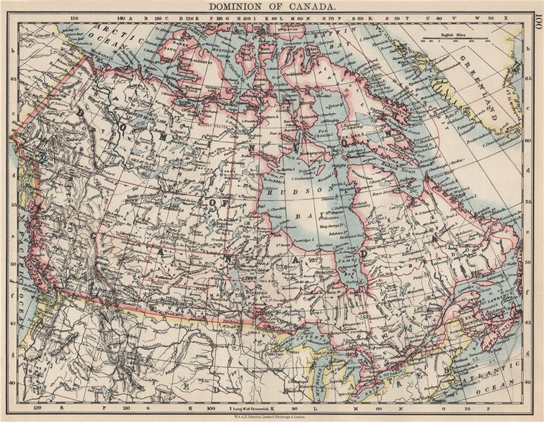 """Associate Product DOMINION OF CANADA. Showing """"new provinces"""" in red. Canadian Pacific 1903 map"""