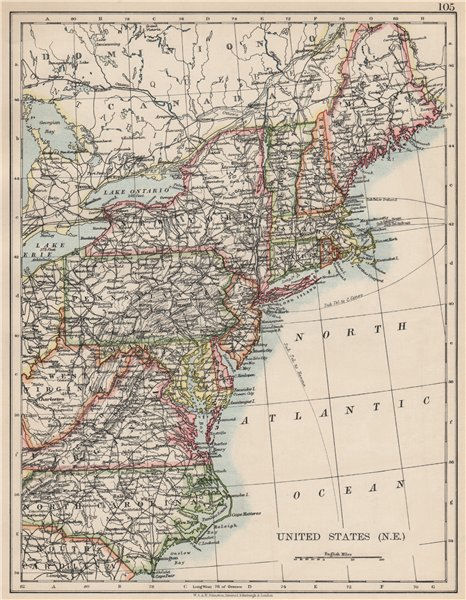Associate Product UNITED STATES NORTH EAST. New England Appalachia Atlantic states. USA 1903 map
