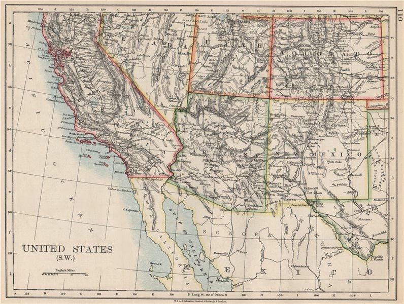 Associate Product USA SOUTH WEST. California Arizona NM Colorado Utah Nevada.  JOHNSTON 1903 map